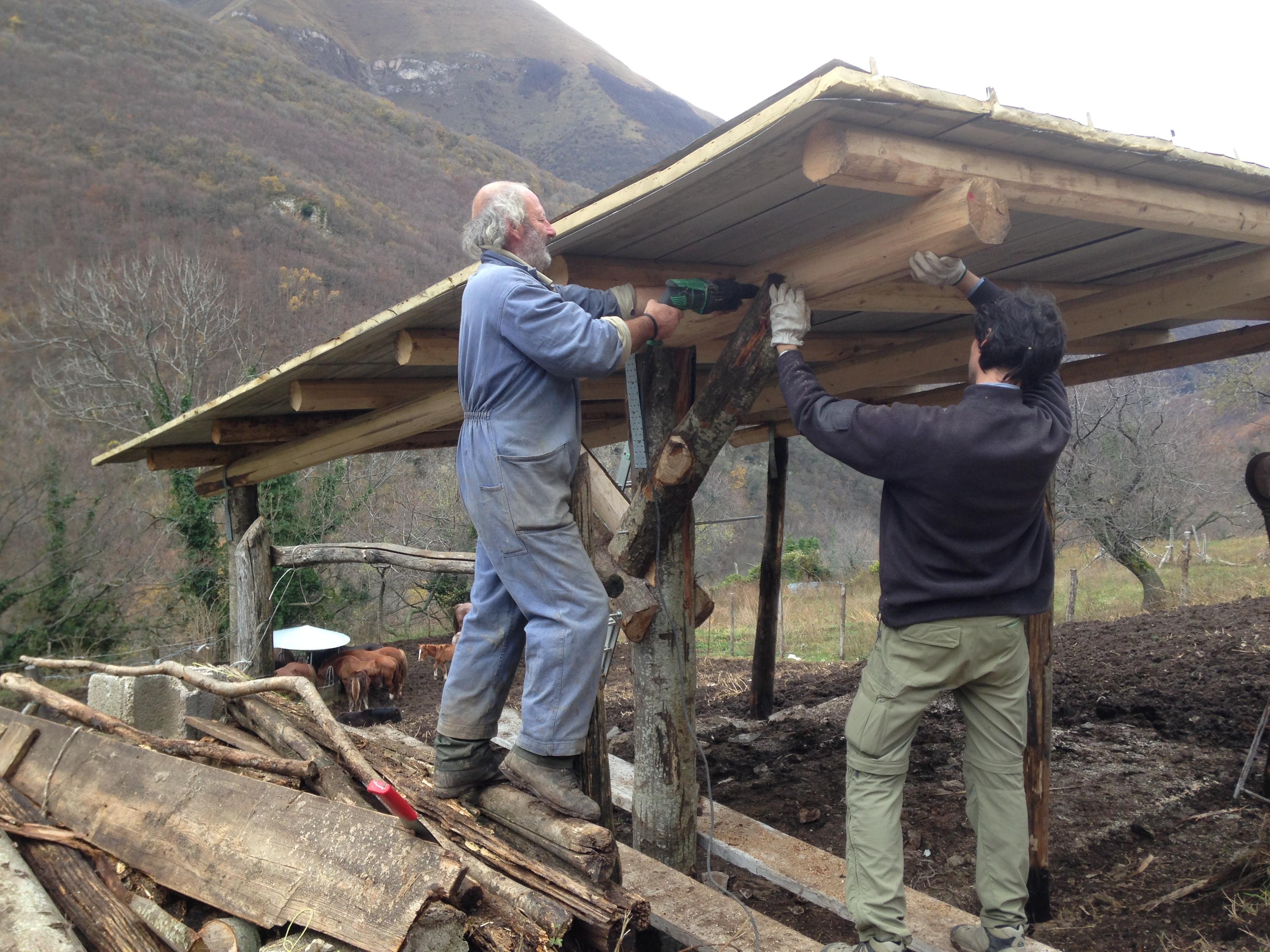 Bolognola, compagni di Genuino Clandestino al lavoro in aiuto dei contadini terremotati