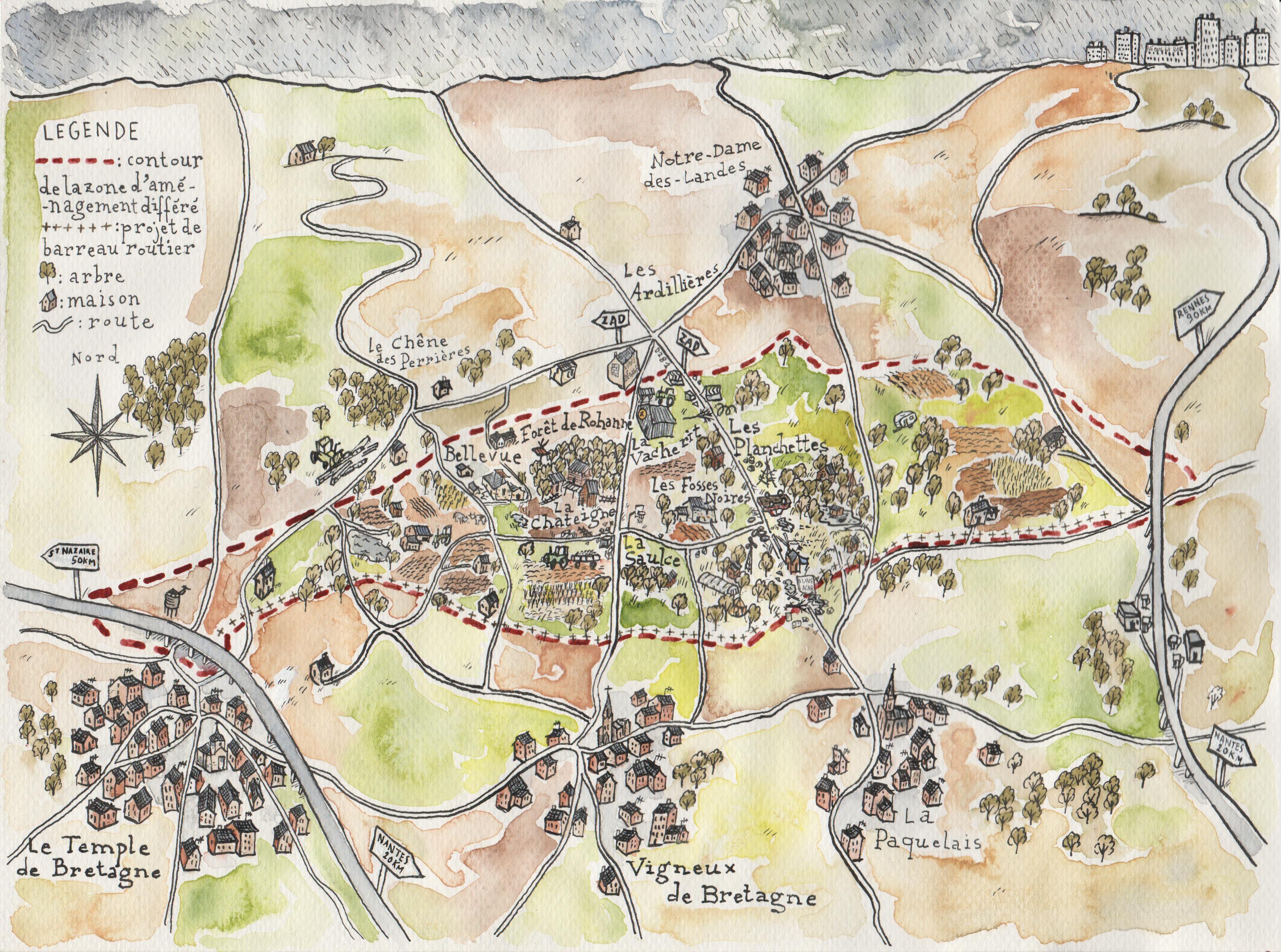 Cartina della ZAD