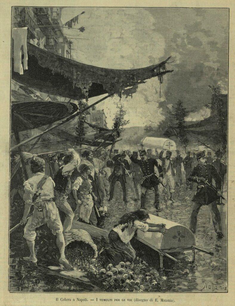 Il colera a Napoli, tumulti per le vie, da L'Illustrazione italiana, 21 set. 1884